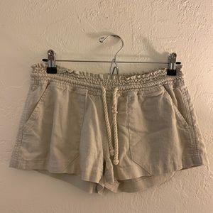 Roxy Khaki Linen Shorts